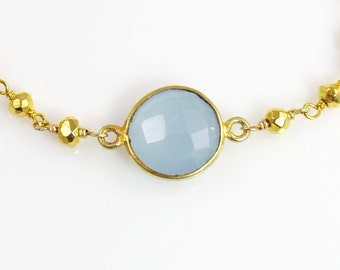 Delicate Lavender Chalcedony Gemstone Bracelet with Gold Pyrite and Vermeil Chain