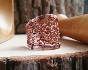 Copper crocheted ring