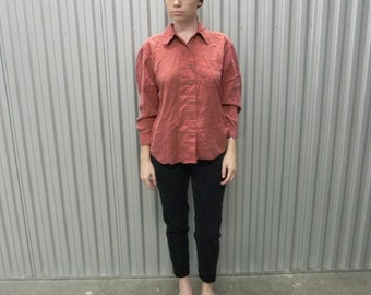 Rust Button up Cropped Sleeve Shirt