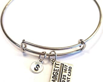Credit Card Bangle Bracelet, Adjustable Expandable Bangle Bracelet, Credit Card Charm, Credit Card Pendant, Sweet 16 Jewelry, Sweet 16 Gift