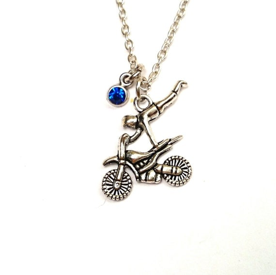 motorcycle stunt necklace motorcycle charm by