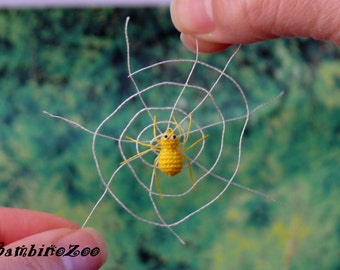 Mini spider - yellow. Miniature amigurumi tiny spider (yellow) made to order - handmade. With free spider's web.