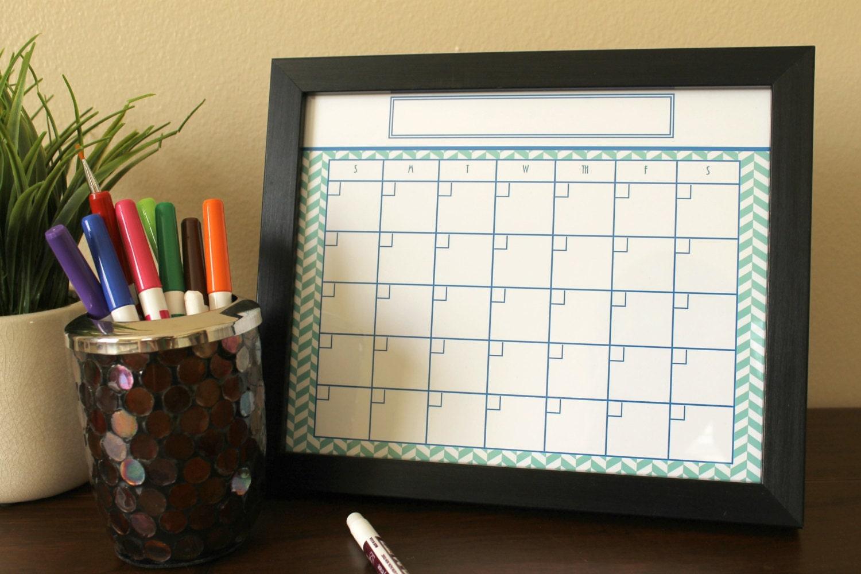 Framed Dry Erase Calendar In Teal And Black For Planning Home