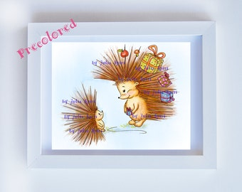 Hedgehog Precolored, Kids decor, Art girl download, Children's Art, Nursery wall art Children Giclee Childrens Illustration. Hedgehog & Gift