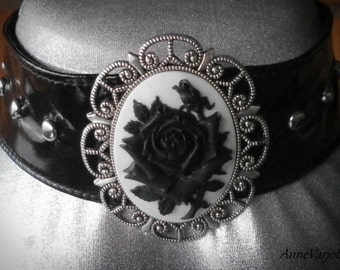 Rose Cameo PVC choker white and black with spikes. Handmade, limited quantity!