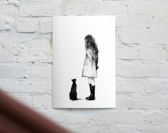 Appointment, Old Friend, Acrylic Painting, Art Print, Cat Art, Cat Lover, Girl & Cat, Black Cat, Animal Art, Black And White Art, Friendship
