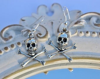 Skull earrings, cross bone earrings, skeleton earrings, dangle earrings, girls earrings, silver plated earrings, Gothic earrings, Halloween