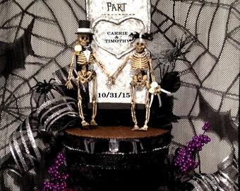 Skull wedding centerpiece,Goth,black wedding dress,skeleton bride and groom,halloween wedding,tombstone,personalized,custom,goth,decoration