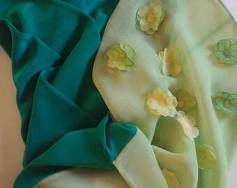 Wedding Shawl, Bridal Shawl, Bridal Shoulder Wrap, Floral Silk Scarf, Petroleum Green Scarf, Wedding Wrap, Summer Wedding, Bridesmaid Gift
