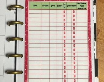 DASHBOARD Christmas Shopping List for use with the MINI Happy Planner