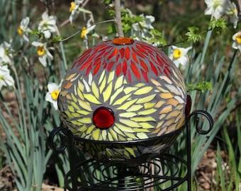 Mosaic Gazing Ball, Garden Art Gazing Ball, Upcycled Garden Art, Sculpture, Gift for Gardeners, Stained glass, Garden Sphere, Garden orb