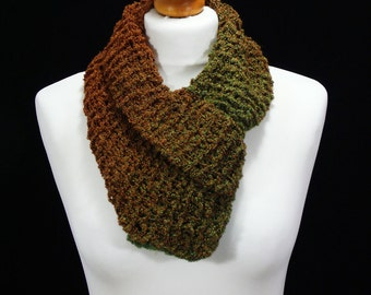Multicoloured Hand Knitted Double Layer Infinity Scarf.