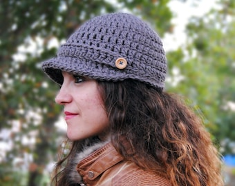 Womens crochet hat, newsboy cap, hat with visor, beanie with brim, fall accessories MP020