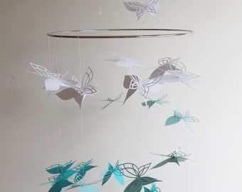 Spiral Hanging Butterfly Mobile- home decor, kids, baby mobile, white and teal, hanging mobile, turquoise