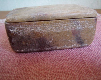Original, ethnic, stone box, urn, box SOAP, stone incised, vintage.