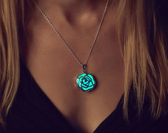 Rose Necklace - Glow in the Dark Necklace - Glow in the Dark Jewelry - Glowing Rose Necklace - Silver Rose Pendant - Gifts for Her