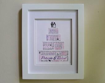 Custom wedding frame word art | Etsy