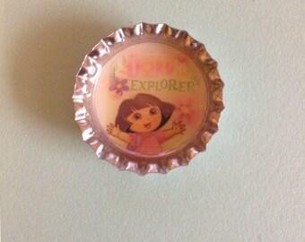 Bottle cap magnet Dora the Explorer , dora magnet, dora bottle cap fridge, refrigerator magnet