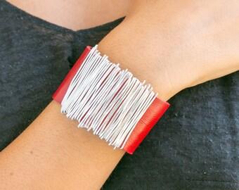 Wrap Leather Bracelet, Red Leather Bracelet, Leather Bangle, Statement Bracelet, Charm Bracelet, Silver Wrap Bracelet, Mother's Day Gift.