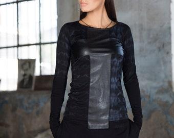 Black cross top / tonal sleeve sweater / leather cross blouse / black cross sweater / long sleeve sweater /