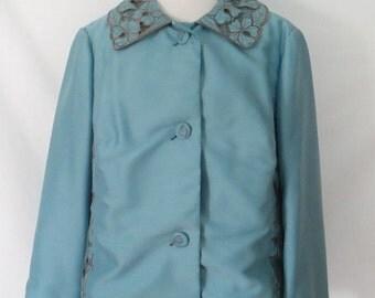 1970's Embroidered Blazer Vintage Hand Tailored Blazer Retro Floral Embroidered Blazer Pale Blue Blazer 1970's Custom Blazer Lovely Blazer