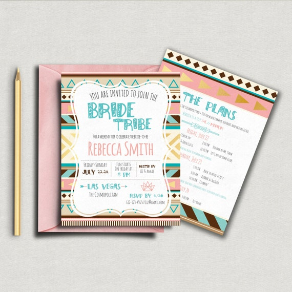 bride tribe bachelorette invitation 5x7 invite custom