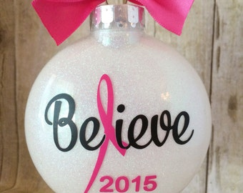 Breast Cancer Ornament, Cancer Awareness, Cancer Ribbon, Cancer Gift, Pink Ribbon, Pink Ornament, Awareness Ribbon, Personalized Ornament