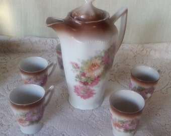 German Hot Chocolate Pitcher and cups set with pink flowers