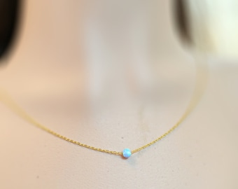 Simple opal necklace, everyday jewelry with opal bead 5mm, gold necklace opal, tiny necklace, dot necklace opal, jewellery opal, opal ball