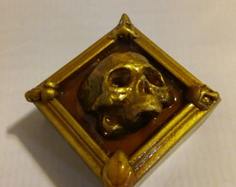 Handcrafted Skull Face's Solid Yellow Birch Wood Box Jewelry/Trinket/Keepsake