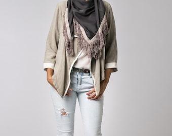 Dark Grey Scarf, Fringe Scarf, Silk Cotton Scarf, Square Scarf, Bohemian Scarf, Tassel Scarf, Womens Fashion Scarf