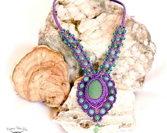 JADE Necklace - Necklace macramé - Unique creation - Style Hippie, Boho Chic, Bohemian , Gypsy