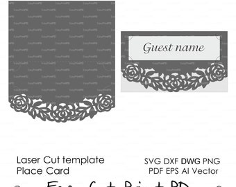 Roses Lace Place card Floral escort wedding cards (svg, dxf, ai, eps, png, pdf) blank escort cards paper cut file cutter Instant Download