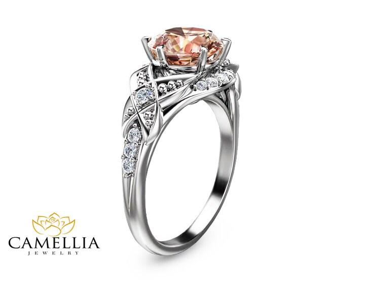 14k white gold morganite ring unique morganite engagement ring