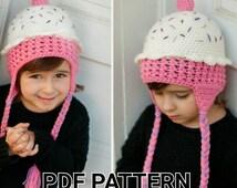 PATTERN Crochet Cupcake Hat - sizes Newborn to 10 years - PDF crochet cupcake hat pattern - Instant Download