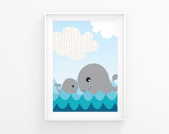 Nursery art - Whale and her baby - Nursery Printable - Nursery wall art - Gender neutral nursery art - Nursery decor - Digital download
