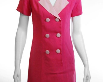 pretty in pink 60s vintage button up dress