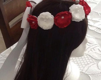 red and white flower girl headpiece, wedding accessories, headpiece, red and white headpiece, crowns