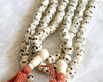 Carved Bone Skull Mala - 108 Beads