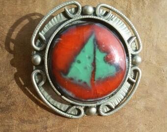 Vintage Agate Stone Brooch, Agate Brooch, Agate Pin, Natural Stone Brooch, Vintage Brooch