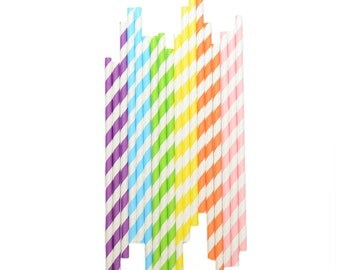 25 paper straws  - Rainbow Party Supplies