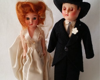 Set of 2 Vintage 1950s Celluloid Dolls Original Box ~ Bride and Groom ~ Looks like Two Girls ~ Gay Wedding, Cake Topper, LGBT Gift AS-IS