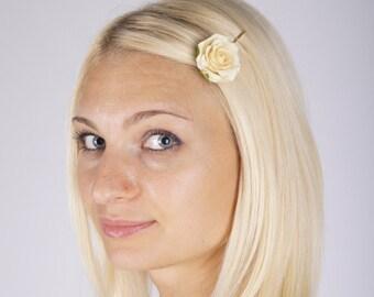 ivory flower hair pins, white bridal hairpiece, cream wedding hair flower, floral hair pins, bridal hair accessories, bridal bobby pin