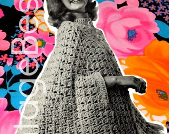 The Big Swing Cape vintage crochet pattern from the 1970s