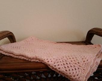 Vintage Crochet Peach Baby Blanket