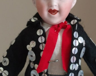 "Gebruder Heubach 8"" Character Shoulder Head Doll with ""Pearly King"" Outfit"