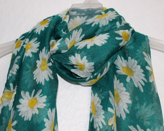 Flower Scarf, Green Daisy Scarf, Daisy Scarf, Daisies, Scarves, Spring - Summer - Autumn Scarf, Fashion Accessories, Floral Pattern