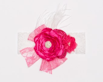 Hot pink headband, Lace flower headband, Vintage inspired hot pink lace headband, shabby chic headband, Ready to ship