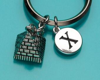 Pyramid Keychain, Egyptian Pyramid Key Ring, Initial Keychain, Personalized Keychain, Custom Keychain, Charm Keychain, 783