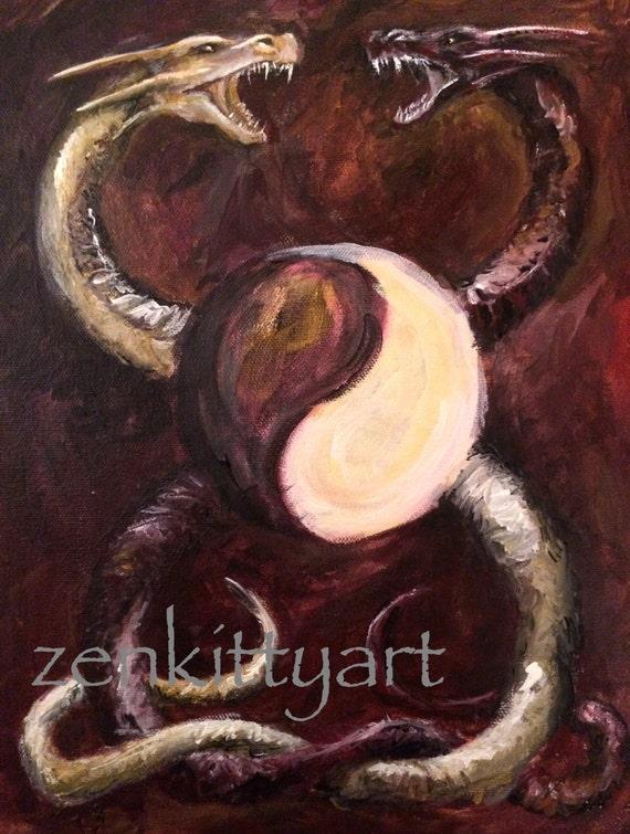 Yin Yang Dragon Original Print Acrylic Painting By Zenkittyart